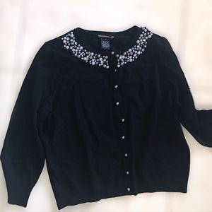 Pearl & Rhinestone Black Cardigan Size Small